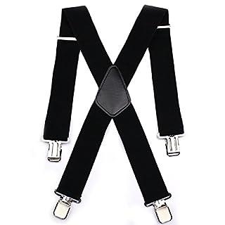 Hosenträger für Herren, 50mm Elastisch Hosenträger schwarz mit 4 Starken Clips X Form Eine Größe Passt Meistens