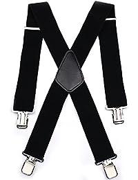 Tirantes para Hombres Tirantes Aulola 50MM Elastic Strutped Heavy Duty X Shape Tirante de Tirantes de Hombres Tirante - Negro