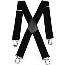 Tirantes para caballero de alta resistencia, elásticos y ajustables con clips de metal antiguos 50 mm negro negro