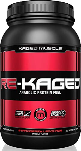 Kaged Muscle RE-KAGED MAX Recovery Post Workout Protein Powder with BCAAs, Creatine and Glutamine, Strawberry Lemonade, 2lb by Kaged Muscle - 2 Lb Muskelaufbau