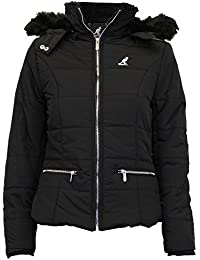 Ladies Jacket Kangol Coat Quilted Padded Hooded Fur Lined Zip Casual Winter New