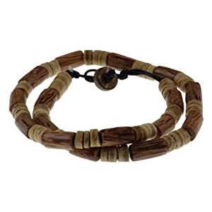 Jewellery of Lords Surfer Style Puka Shell and Wood Bead Necklace Choker Skater Toggle Button
