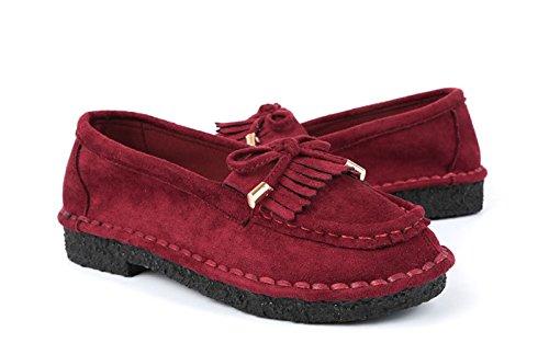 Damen Bequem Freizeitschuhe Rund Zehen Leichtgewicht Anti-Rutsche Flache Hausschuhe Halbschuhe Rot