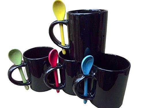 purposefull Set von 4schwarz Tassen mit Löffel im Griff-Ideal für Tee, Kaffee, Latte, Cappuccino-Küche Essentials-Rot, Blau, Gelb, Grün Löffel thumbnail