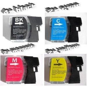 10x Kompatible Drucker Tintenpatronen für Brother MFC-5490CN - 2x Cyan / 2x Gelb / 2x Magenta / 4x Schwarz + 10 Blatt Fotopapier von Tinten und Toner Fuchs