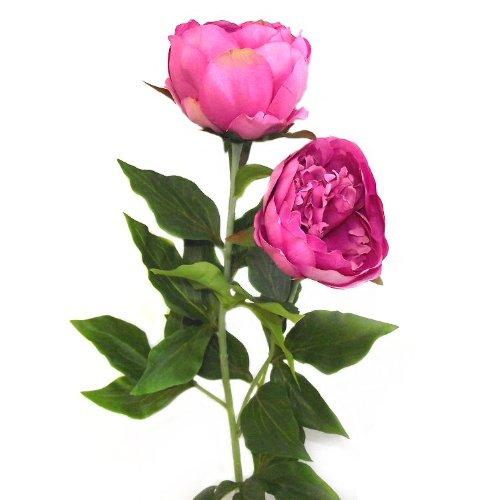 Pivoine artificielle 80 cm double Fleur Tige - Mid Rose