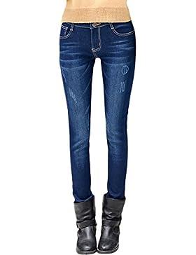 DoreKim Women's Stretch Slim Jeans Forrados de Lana Pantalones Casuales de Mezclilla Skinny # 6010