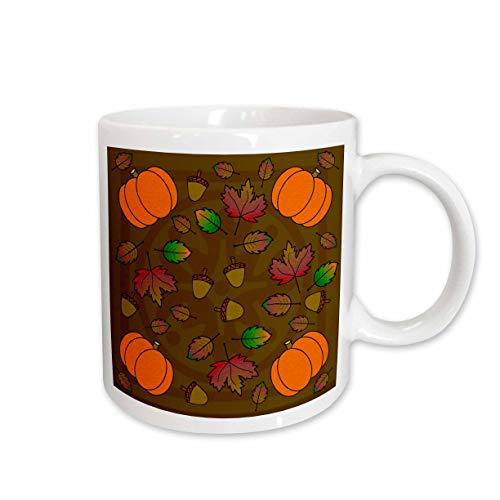 3dRose mug_15420_1 Thanksgiving Print Fall Leaves, Acorns And Pumpkins - Ceramic Becher, keramik, mehrfarbig Mug Fall