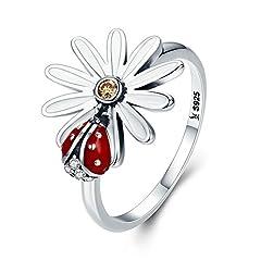 Idea Regalo - Margherita e coccinella anello collezione primavera 925argento Sterling fiore e coccinella Wonderland finger anelli per le donne gioielli in argento e argento, cod. 1