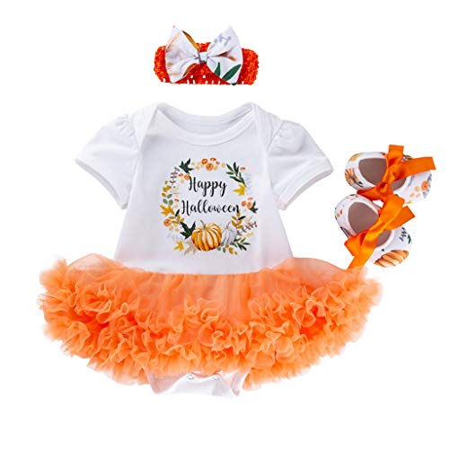 stüm 18M-5Y Kinder Kurzarm Kürbis Brief drucken La Kleid Rock Spleißen Tutu Kleid + Schuhe + Haarband Happy Halloween für Halloween Party Festival Karneval Parade Orange 80 ()