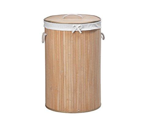 Gartenfreude 9100–1002–001bambù cesto rotondo 39x 60cm cesto della biancheria, bambù, naturale, 39x 39x 60cm