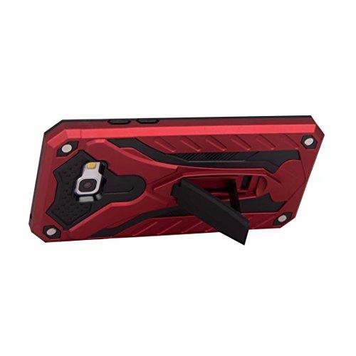 EKINHUI Case Cover Neue Hybrid-Rüstungsschutz-Rückseiten-Abdeckung Shockproof Doppelschicht PC + TPU rückseitige Abdeckung mit Kickstand für Samsung-Galaxie A5 2017 ( Color : Gold ) Red