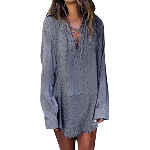 MOIKA Damen Bluse, New Frauen Sommer Kimono Striped Beach Bikini Abdeckungen Bademode Beachwear Bluse(S,Marine) (Sleeve Long Shirt Twill Striped)