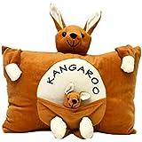 JBTLT Enterprises Soft Toy Cushion/ Pillow Kangaroo Mother With Baby Kangaroo For Kids (Brown)