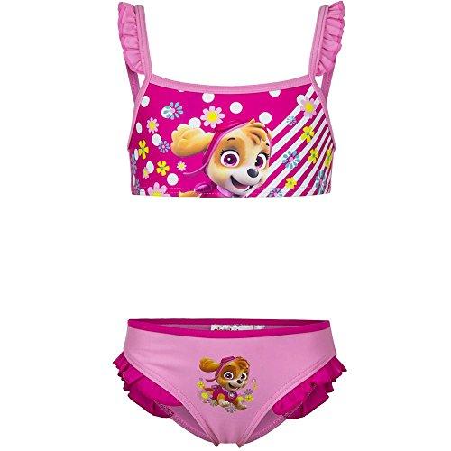 4557 Kinder Mädchen Bikini PAW PATROL SKYE EVEREST 2-teilig Badeanzug Beachwear (rosa, 110) (Mädchen Unterwäsche-set 2-teiliges)