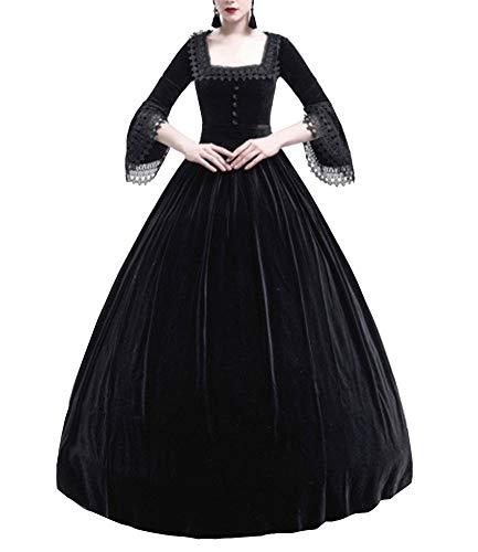Mujer Vestidos Largos Gótico Medieval Vintage Vestidos de Princesa Renacentista Negro S