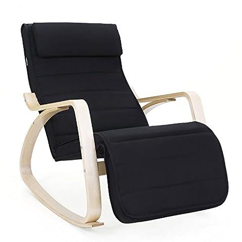 Songmics Rocking Chair Fauteuil Bascule avec Repose-pieds réglable à 5 niveaux design Charge maximum: 150 kg noir LYY10B
