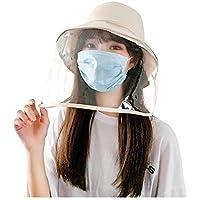 GGLLBL Antivaho del Sombrero de Paja Unisex del Verano Anti-Saliva del Sombrero del Cubo Grande de los Aleros de protección Transparente TPU extraíble Pescador del Sol del Sombrero (Color : Beige)