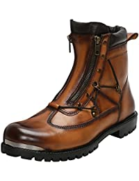 Tan Biker Boots With Metal Plate On Toe For Men By Bareskin