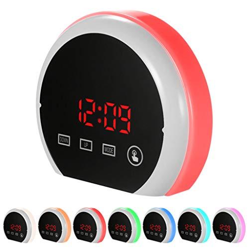 Reloj Despertador Digital, Pantalla LED de Espejo HD portátil con función de Tiempo/Temperatura, 3 ajustes de Brillo, Doble Puerto USB, Apto para Dormitorio, Oficina, Viaje,B