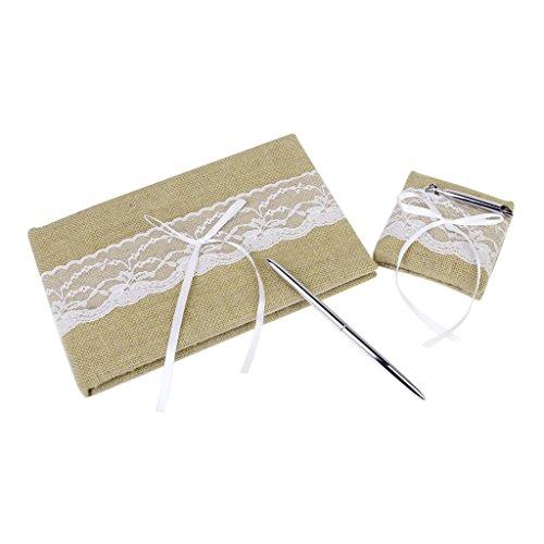 White Bowknot Sackleinen Gästebuch Pen Set Hochzeit Party Supplies ()