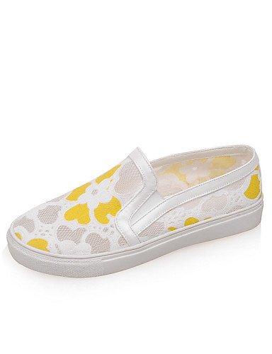 ZQ gyht Scarpe Donna - Mocassini - Casual - Punta arrotondata - Piatto - Tessuto - Giallo / Bianco , yellow-us8 / eu39 / uk6 / cn39 , yellow-us8 / eu39 / uk6 / cn39 yellow-us6 / eu36 / uk4 / cn36
