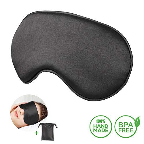 Schlafmaske, Carlcoo Augenmaske 100% Naturseide für Sleepmask, Schattierung, Seide, leicht für Männer, Frauen und Kinder mit verstellbarem, bequemem Gurt für Reisen und Zuhause Geeignet (Schwarz)