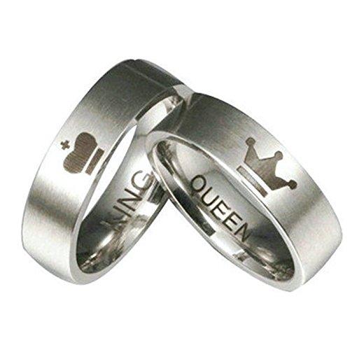 6MM Edelstahl King Queen Partnerringe Heiratsantrag Ring Verlobungsringe Damenringe Gr.57(18.1) & Herrenringe Gr.62(19.7) (Titanum Verlobungsring)