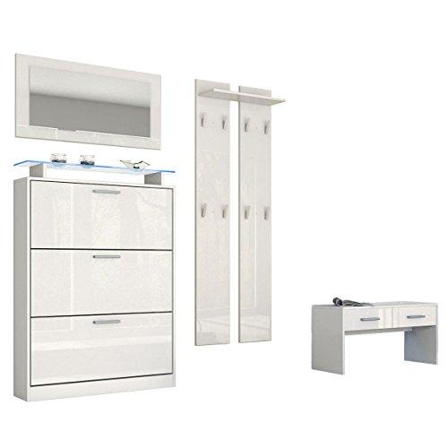 Garderobenset Garderobe Lavia, Korpus in Weiß matt / Front in Weiß Hochglanz
