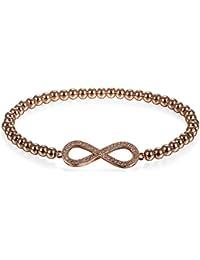 5ad2e28063f2 JewelryWe Schmuck Damen Charm Armband, Elegant Zirkonia Infinity  Unendlichkeit Ewige Liebe Zeichen Perlenarmband Armkette Armreif