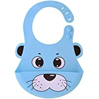 Pookie Pookie's Silicone Waterproof Baby Bibs with Food Catching Pocket | Silicone Bib for Feeding Infants & Toddlers (6M to 5 Yrs) – Unisex | (Blue)
