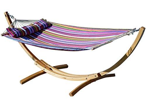 AS-S 320cm XL Limited Edition Cadre de hamac en Bois de mélèze avec hamac et des vis en Acier Inoxydable tapissés de