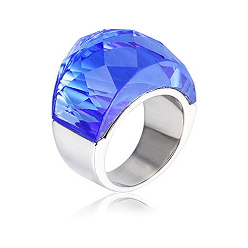 NELSON KENT Damen Edelstahl Halbe Pack Transparente Glas Ring Silber Blau Größe59(18.8)