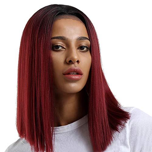 TianWlio Perücken DamenBrasilianische Schwarze Spitze Front Voll Perücke Bob Wave Natürliche Schauende Art und Weise Frauen Perücken