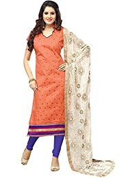 VIHA Women's Chanderi Dress Material (LL58_Orange_SS_Free Size_Orange)