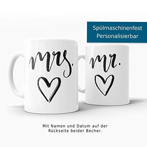 mrs. und mr. Tassen Set - Personalisiertes Hochzeitsgeschenk - Tasse - Kaffeetasse - Becher - Kaffeebecher - Mug
