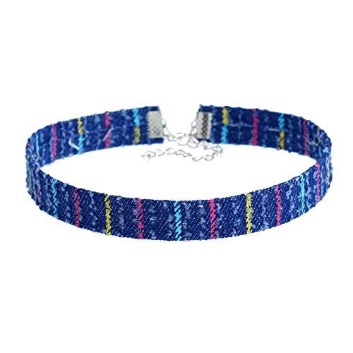 PAN•RUORA Damen Halskette Denim Kurze Halskette Muster Halskette - Manschette Denim Kurze