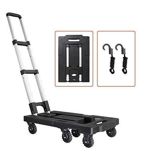 Pansonite Faltbarer Gepäckwagen mit einer Kapazität von 66 kg Tragkraft, tragbare Aluminium-Handkarre mit 6 Rädern und 2 Seilen für Gepäck, Reisen, Umzug, Einkaufen, Büro schwarz