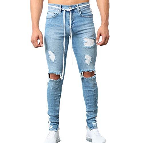 hahashop2 Herren Straight Jeans Original Jeanshosen Basic Slim Fit Skinny Jeans Schmal geschnittene Jeans-Jeanshose -
