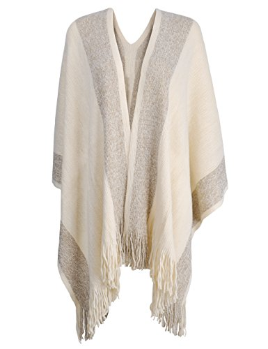 ZLYC Damen Herbst/Winter Weiche Schlichte Poncho Capes Retro - Stil Cardigans Pullover Mantel mit Fransen (Weiß)