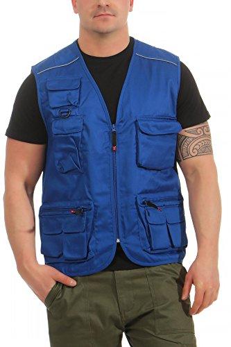 Mivaro Herren Safari-Weste mit vielen praktischen Taschen, funktionale Arbeitsweste, Outdoor-Weste, Farbe:Blau, Größe:XXL (Usa Armee Kleidung)