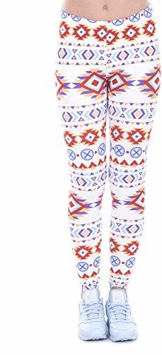 Loomiloo® Leggings Damen Mädchen - Leggins Hose Mandala Ornament Tribal Sommer Boho Ibizia Aztek (Indian Aztec) (Indian-leggings Für Frauen)