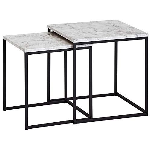 FineBuy Design Beistelltisch 2er Set Marmor Optik Weiß | Couchtisch 2 teilig Tischgestell Schwarz | Kleine Wohnzimmertische | Moderne Satztisch