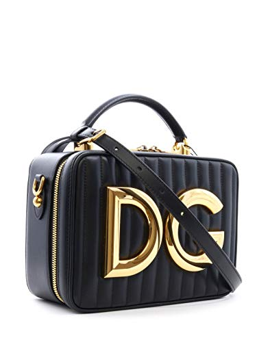 Gabbana Leder Handtasche Schwarz (DOLCE E GABBANA Damen Bb6684az76280999 Schwarz Leder Handtaschen)