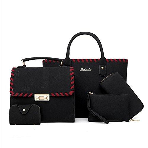 YAN PU cuir givré 5 pièces Set sacs Casual fourre-tout sac à main Cross Body épaule sac à main noir bleu gris vert rouge (Color : Black)