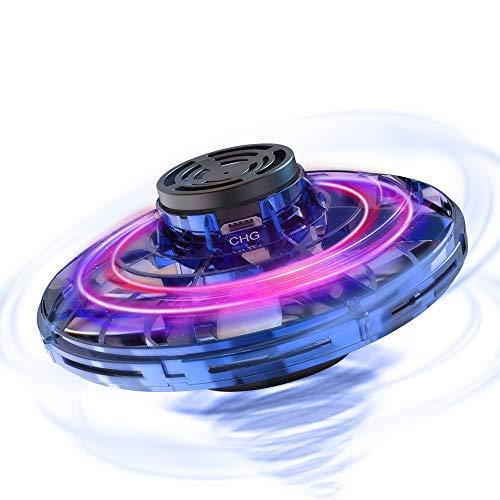 Hisome FlyNova UFO Mini Drone, Balle UFO Volante, USB Rechargebale, Avion Infrarouge Induction Hélicoptère Capteurs à 360° Rotaion Contrôlée à la Main avec Lumière LED pour Enfants ou Adultes ((Bleu)