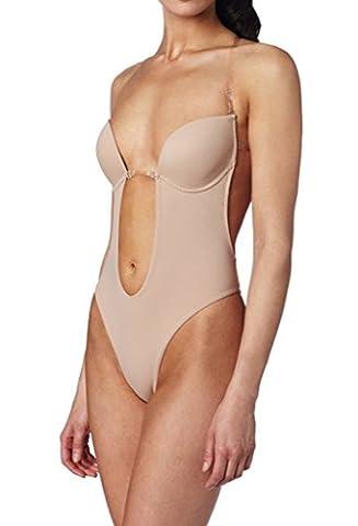 BeautyIn Body string en U sans bretelles à décolleté plongeant Lingerie gainante pour femme - beige - S(tasse 90C/90D/95A/95B)