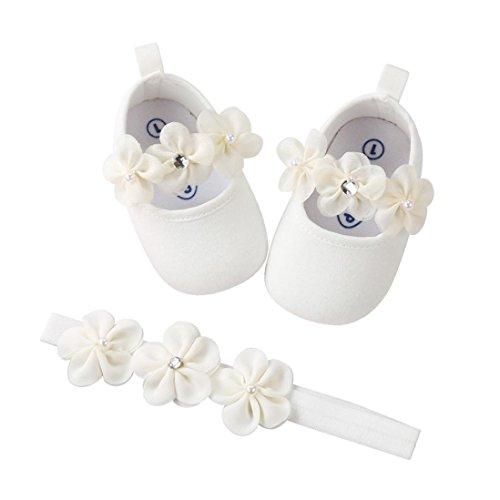 MEIbax 2 Pcs Kleinkind Schuhe+ Stirnband,Weich Synthetik Leder Stil Baby Mädchen Creme/Elfenbein Weiß Rosa Besondere Anlässe Taufe Hochzeit Party Schuhe (0-6 Monate, Weiß)