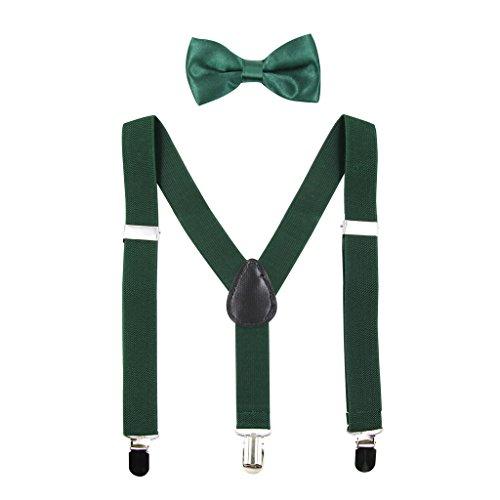 HANERDUN Unisex Hosenträger mit Fliege für Jungen und Mädchen, Befestigung mit drei Kleiderclipse am Hosenbund möglich (Grün Fliege Jungen)