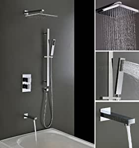 ensemble mitigeur douche thermostatique encastr 3 voies avec pomme de douche montage plafond et. Black Bedroom Furniture Sets. Home Design Ideas